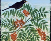 linocut, sing, blackbird, sing, rowan berries, nature, blackbird, landscape, printmaking, limited edition, orange, green
