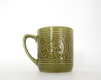 Vintage Japanese Coffee Mug / Olive Green / Studio Pottery