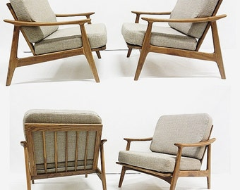 PAIR Modern LOUNGE CHAIRS in Gray / Solid Walnut / Custom Made / Danish Inspired