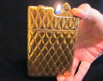 Evans Cigarette Case Lighter 1940s Art Deco Case Lighter Vintage Gold Lighter Case In Great Working Condition
