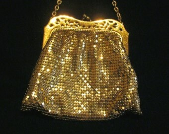 1930s Whiting Davis Purse Gold Mesh Purse Formal Purse Evening Purse Wedding Bridal Handbag Unused In Original Box