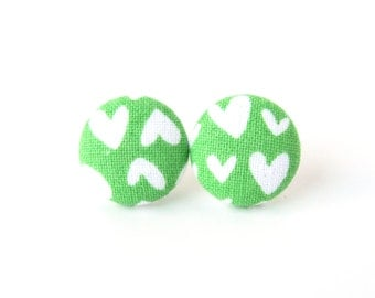 Valentine's day gift - Heart earrings - green stud earrings - fabric button stud earrings - tiny small earrings white bright - birthday gift