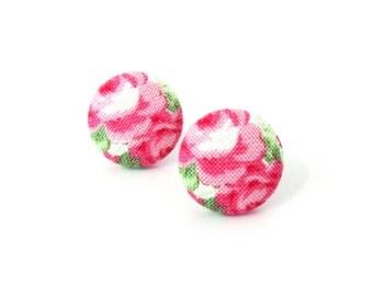 Rose button earrings - romantic fabric earrings - pink green white stud earrings - tiny bright flower earrings