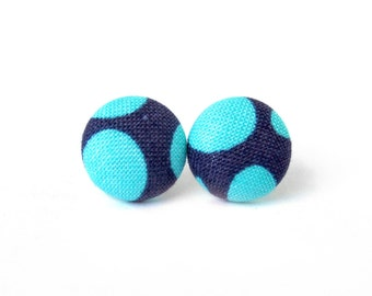 Turquoise blue fabric button earrings - cyan button earrings - stud earrings mint purple small bright