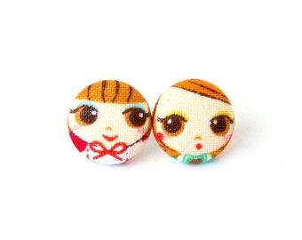 Small stud earrings - tiny fabric earrings - button earrings girl cute red orange brown kawaii happy