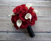 Red Rose and Ivory Calla Lily Wedding Bouquet