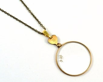 Monocle Necklace, Steampunk Monocle, Monocle Pendant, Gold Necklace