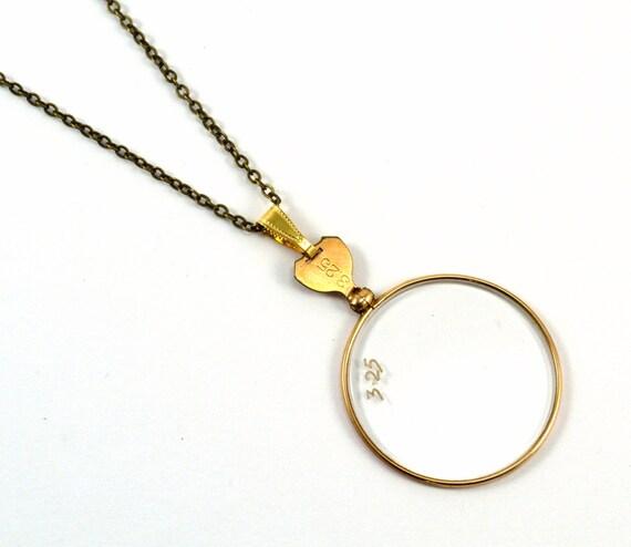 Monocle Necklace, Steampunk Monocle, Monocle Pendant, Gold Necklace
