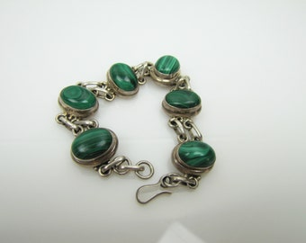Taxco Mexico Modernist Chunky Sterling Silver Bracelet. Banded Green Onyx Malachite Bezel Set Cabochons. Old Taxco Silver Jewelry