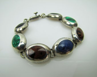 Taxco Mexico Mid Century Modernist Sterling Silver Bracelet. Multi Gemstones. Banded Onyx Malachite Lapis Jasper. Vintage Mexican Bracelet.