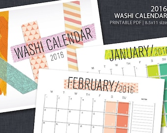 2016 PRINTABLE Washi Tape Wall Calendar - Landscape