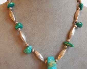 Vintage Southwestern Silver & Turquoise Nugget Necklace