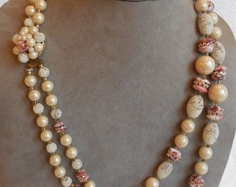 Ivory & Pink 2 Strand Choker Necklace and Earrings w/ Venetian Dew Beads    MCJ39