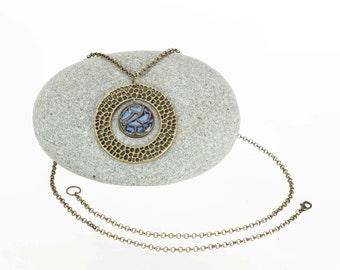 Long necklace with handmade blue pottery focal piece on brass chain  / clay jewelry / casual jewelry / boho jewelry / trendy jewelry