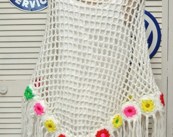 Vintage Crochet Hippie Shawl Wrap 60s 70s/Long Granny Country/Prairie Boho/Triangle Shape/Fringe White/Red Yellow Green Pink Flowers/Acrylic