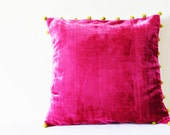 Hot Pink Velvet Pillow with Pom Poms , Fuchsia Velvet Cushion Cover , Pink Decor Pillow , Velvet Throw Pillow , Velvet Cushion
