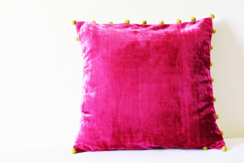 Hot Pink Velvet Pillow With Pom Poms Fuchsia Velvet Cushion