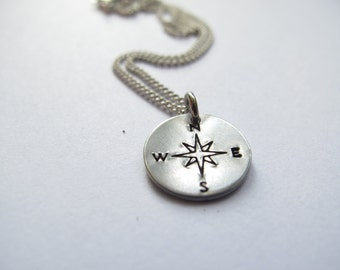 Compass Necklace // Custom Necklace //Inspirational Jewelry // Power, Strength, Direction // Wild Woman // Hand-Stamped // Traveller Jewelry