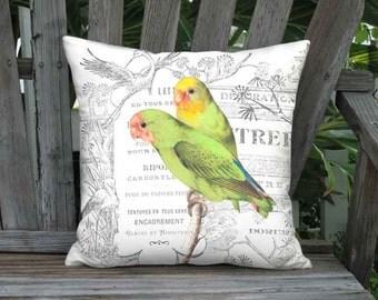 Green Parrotlet Bird Pillow Cover - Décorateur French Cottage Pillow - 16x 18x 20x 22x 24x 26x Inch Linen Cotton Bird Cushion Cover
