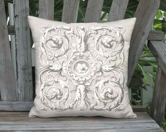 Pillow Cover - Pillow - Ornate Scroll French Country  French Grey - 16x 18x 20x 22x 24x 26x 28x Inch Linen Cotton Cushion Cover