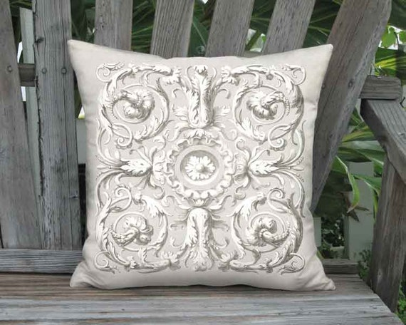 Ornate Scroll French Country Pillow Cover - French Grey Pillow - 12x 14x 16x 18x 20x 22x 24x 26x 28x 30x 32x Inch Linen Cotton Cushion Cover