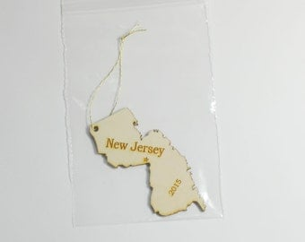 Natural Wood New Jersey State Ornament WITH 2015