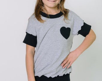 Girls grey bamboo shirt with black heart, girls kids back to school clothes, neutral color girls top, ready to ship, 2t 3t 4t 5t XS
