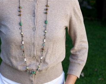 Multicolor long beaded layering necklace, long length, Friday's Leftovers