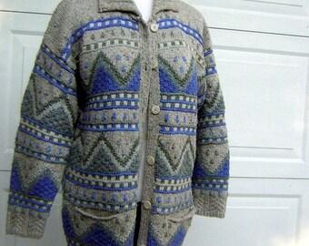 "Warm Cardigan Sweater Jumper Wool & Cotton - Gray Blue Heather Colors Geometric Pattern - Bust 48"""