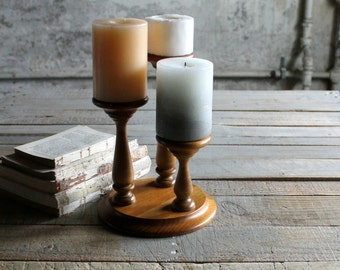 Vintage Wooden 3 Tier Candle Holder / Candleabra