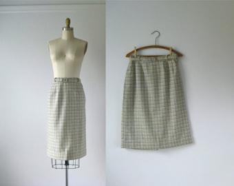 vintage 1960s plaid skirt / 60s plaid pencil skirt