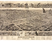 Alabama Art, Digital Print, Birmingham AL, Monster Art, Sci Fi Art, Vintage Poster, Vintage Map, Geekery, Alternate Histories