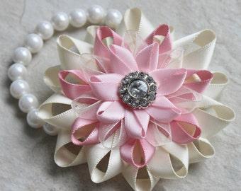 Flower Corsage, Pink Wrist Corsage, Prom Corsage, Pink Flower Corsages, Ivory, Pale Pink Corsage, Baby Girl Shower Corsage, Flower Bracelets