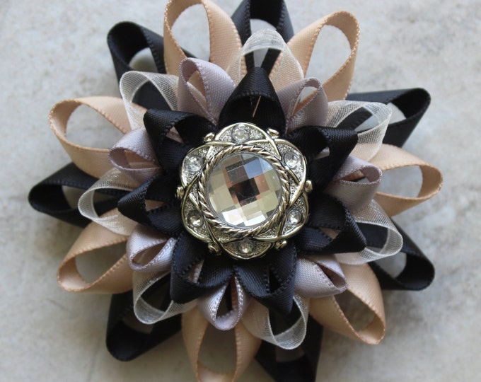 Wedding Corsage, Prom Corsage, Champagne, Black, Silver, Flower Corsage Pin, Silver Wedding Flowers, Mother of the Bride Corsage, Flower Pin