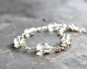 Crystal Quartz Bracelet Sterling Silver Chunky Chain Link Clear Chubby Stones