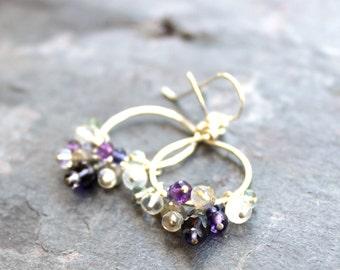 Chandelier Cluster Earrings Gemstone Sterling SIlver Rustic Iolite Moonstone Amethyst Labradorite