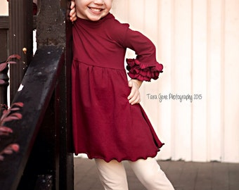 Ruffle Knit Tunic Top / Many Colors / Ruffle Sleeve and Tie Back Tunic / Tunic Dress for Girls---0M-5T