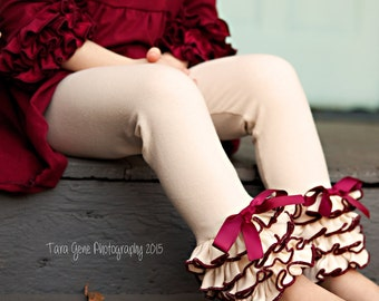 Cream & Burgundy Leggings with Full Ruffles / Available in Many Colors / Girls Leggings