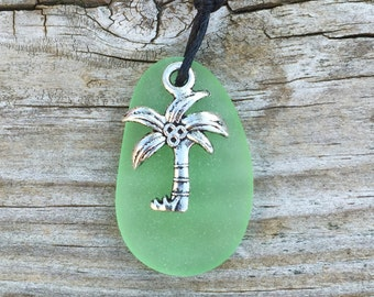Lime Green Sea Glass Palm Tree Necklace Island Tropical Hawaiian Style by Wave of Life™