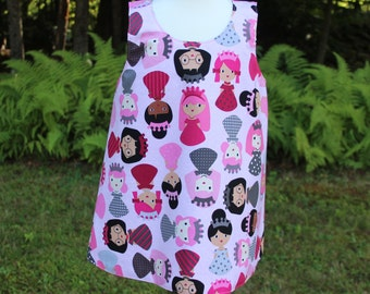 Reversible Toddler Dress - Pink Princesses Dress - Only Available in 12 Months