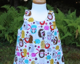 Baby Girl Dress, Reversible Crossover Toddlers Dress, Christmas Dress, Hedgehog Design Dress, Jumper Dress, Reversible Dress