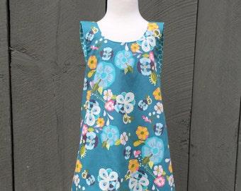 Baby Girls Pinafore Dress, Crossover Dress, Turquoise Flowers Dress, Toddler Dress, Baby Girl Dress, Summer Dress
