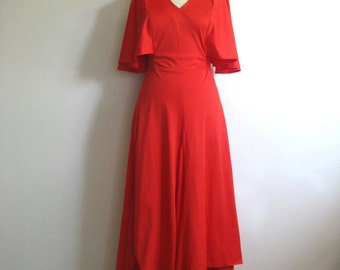 Vintage 1970s Red Dress Bat wing Kerchief Poly Jersey Dress 11-12