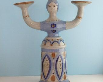 Vintage El Palomar Mexico Tall Ceramic Lady Candleholder