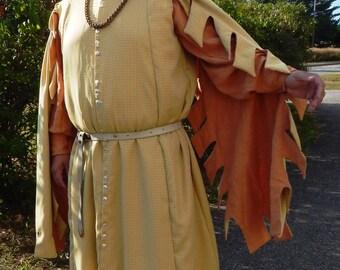 14th Century  Yellow / Orange brocade Houppelande with Linen Drop Dagged Sleeves G63 SCA Tunic