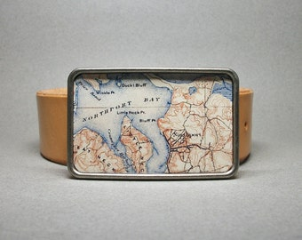 Belt Buckle Northport Harbor Long Island New York Vintage Map Unique Gift for Men or Women