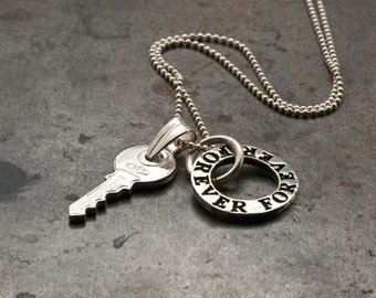 Infinity & Key Charm Necklace, Unisex Silver Forever Friends Necklace, Eternity Love Statement Necklace, Men's Necklace, Infinity Jewelry