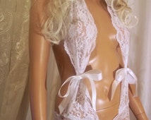Beautiful White Lace Lingerie, White Teddy Lingerie, Babydoll Lingerie, White Nightie, Honeymoon Lingerie, Sexy Lingerie, Sexy Sleepwear