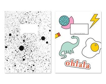 DINO + SPRAY Set of 2 small notebooks / journal / diary