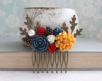 Red Bridal Hair Comb Cranberry Red Navy Blue Autumn Orange Rustic Woodland Wedding Nature Inspired Branch Pine Cone Goldenrod Yellow